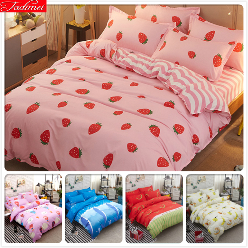 Pink Strawberry Pattern Duvet Cover 3/4 pcs Bed Linen Kids 4pcs Bedding Set Single Twin Queen King Size Bedlinen 180x220 150x200|Duvet Cover| |  - title=