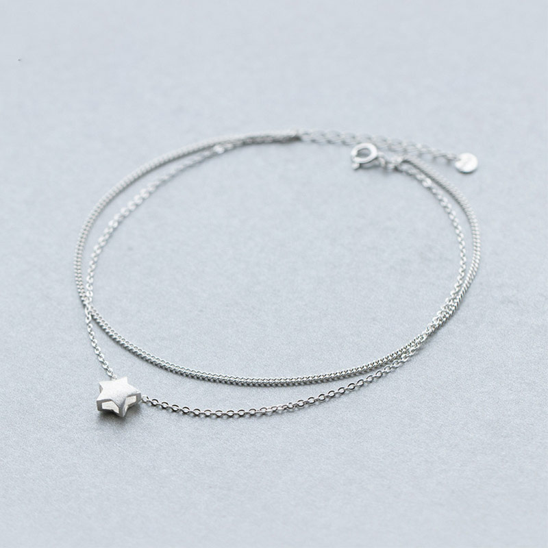 100% 925 Sterling Silver Two Layer Anklets Women Barefoot Crochet Sandals Foot Jewelry Charm Summer Leg Chain Ankle Bracelet