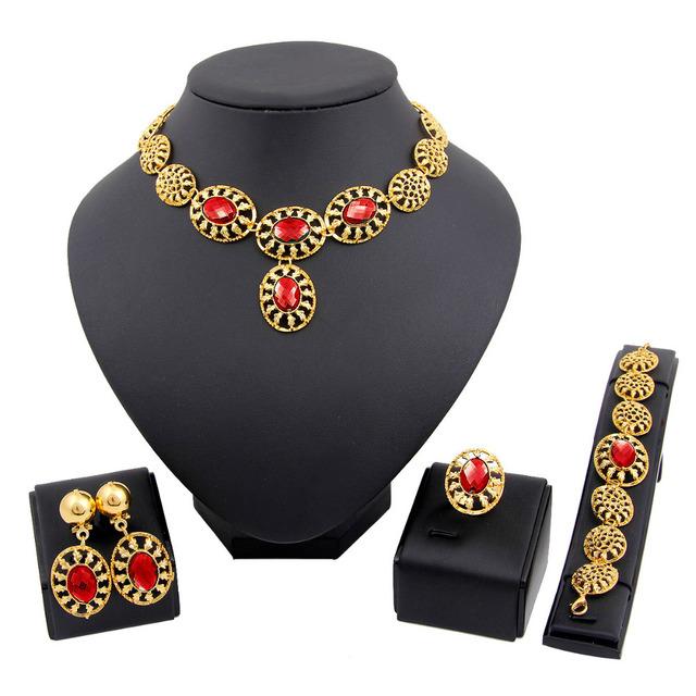 Women 18K African Gold Plated Jewelry silver Fashion Wedding Bridal Jewelry Set
