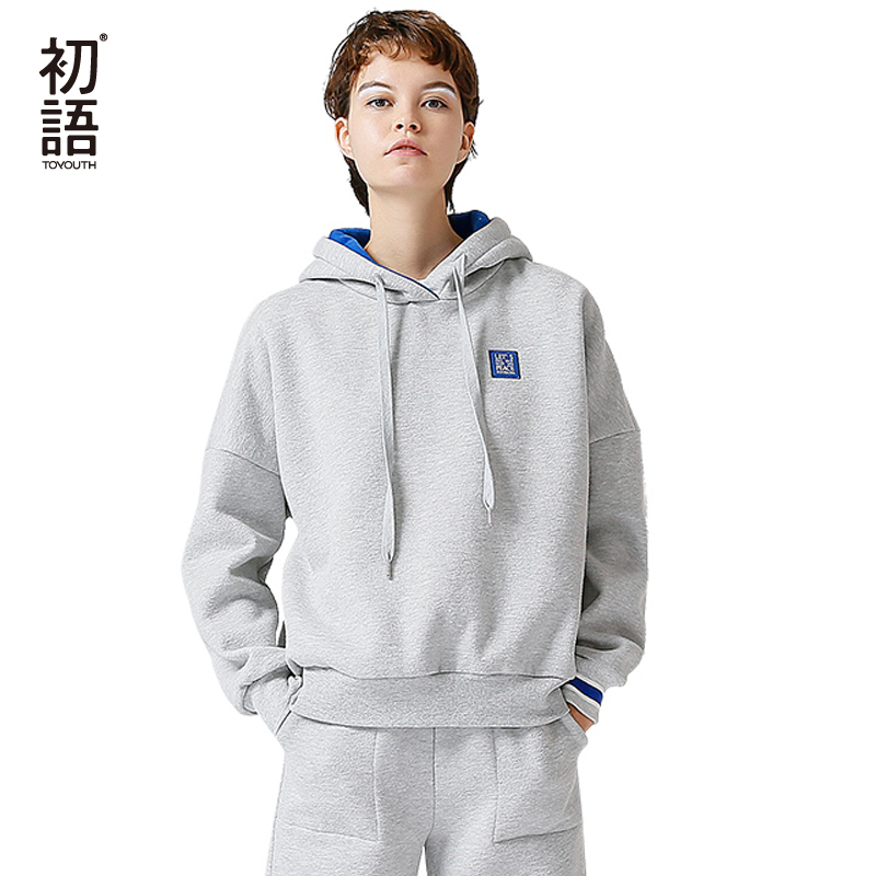 Toyouth Harajuku Women Hoodies And Sweatshirts Casual Patch Fleece Tracksuits Female 2018 Autumn Hooded Long Sleeve Sweatshirt