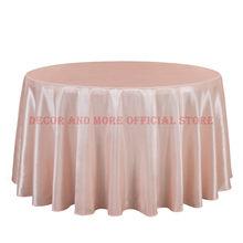 849c084d29 10 ピース固体サテンテーブルクロスラウンドホテルパーティー結婚式のテーブルカバーブルーピンク