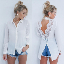 Backless Lace Patchwork White Shirt Womens Tops and
