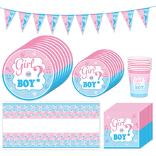 Gender Reveal Party Disposable Tableware Boy or Girl Pink Blue Paper Plate Cup Decor Baby Shower gift Favors