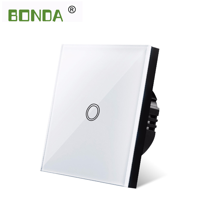 BONDA touch switch, EU standard, white crystal, glass panel, touch switch, Ac220v, 1 set, 1 way, wall light, wall touch screen 4