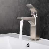 Lead Free 304 Stainless Steel Bathroom Vanity Sink Faucet Basin Mixer Tap Brushed Finish
