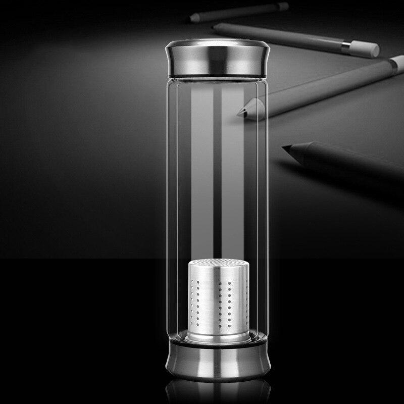 300/420cc краткое прозрачная бутылка воды термостойкие Стекло бутылка с Нержавеющаясталь Чай Infuser Фильтр стакан воды