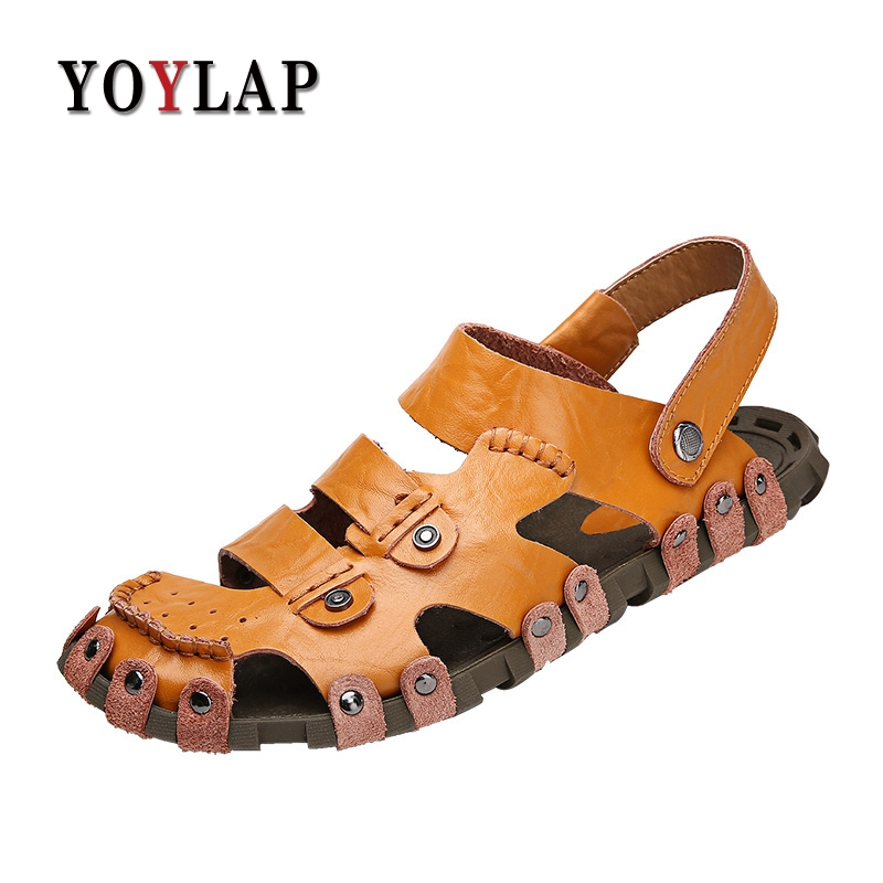 Size 38-44 Men Sandals Genuine Leather Fashion Summer Shoes Men Slippers Breathable Mens Sandals Causal Shoes Leather