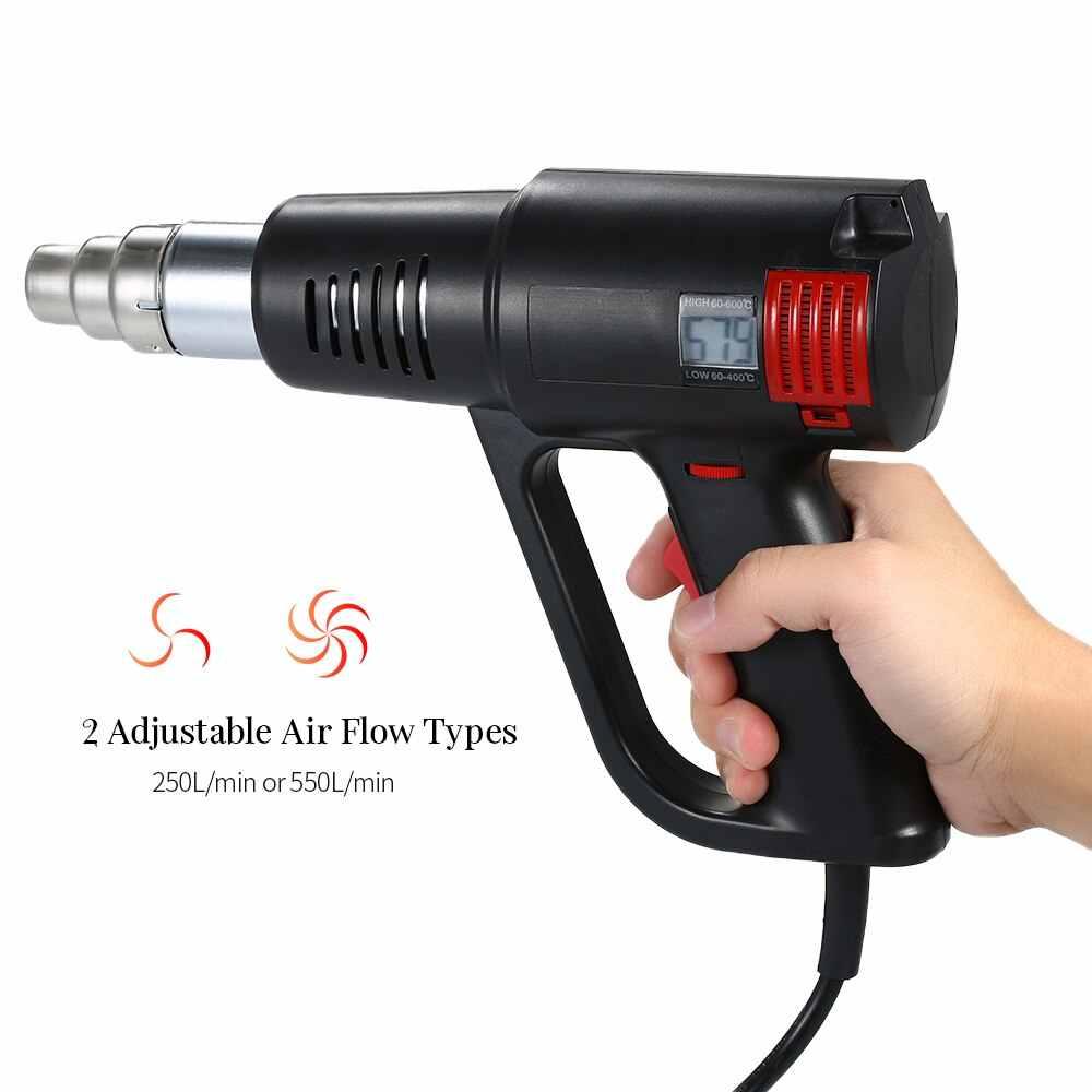 2000 Вт Тепловая пушка для пайки волос фен для горячего воздуха пистолет с температурным управлением строительный фен для волос тепловые пистолеты с 4 насадками электроинструменты