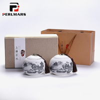 Jingdezhen Hand Painted Landscape Tea Cans Ceramic Kung Fu Tea Set Tea Caddy Gift Box Spice Sealed Jar Storage Bottles Canister