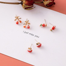 цена на 925 Sterling Silver Fashion Cute Tiny Red Apple Stud Earrings Gift For School Girls Kids Lady