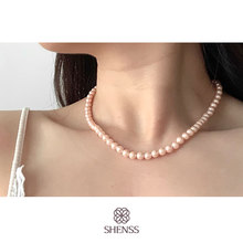 Elegant Pink Preal Necklace Classic Temperament Wedding Necklace 6-10mm Shell Pearl Cream 925 Sterling Silver Chain for Women elegant quality silver 925 jewelry classic temperament wedding necklace 8mm pearl cream s925 sterling silver chain for women