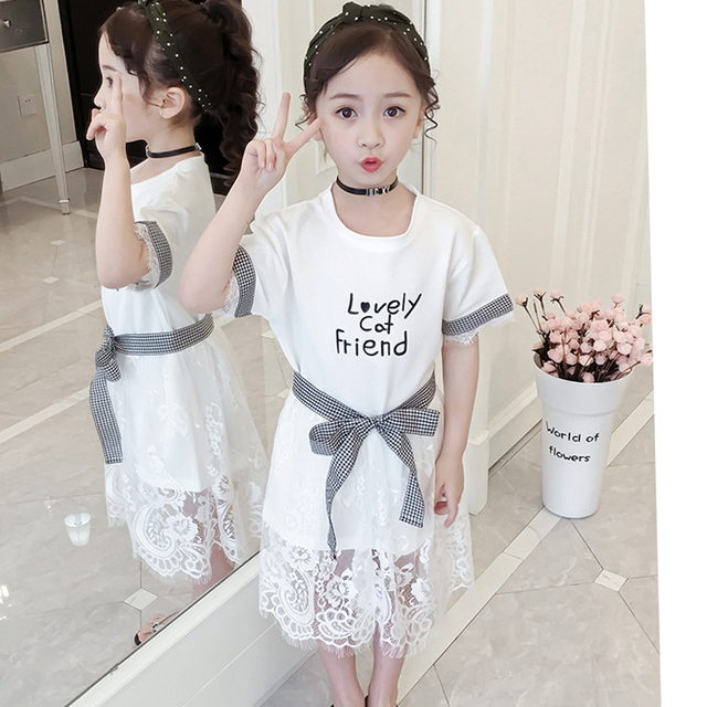 Dress For Girls Letter Pattern Girls Summer Dress Mesh Lace Dress Girls Teenage Clothes For Girls 6 8 10 12 13 14 Year