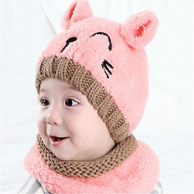 2Pcs Set Top Quality Hot Winter Warm Baby Hat Scarf Set Boy Girl Infant  Knitted Cartoon Cat Cap And Scarf Baby Beanie Bandana 5210e48ff636