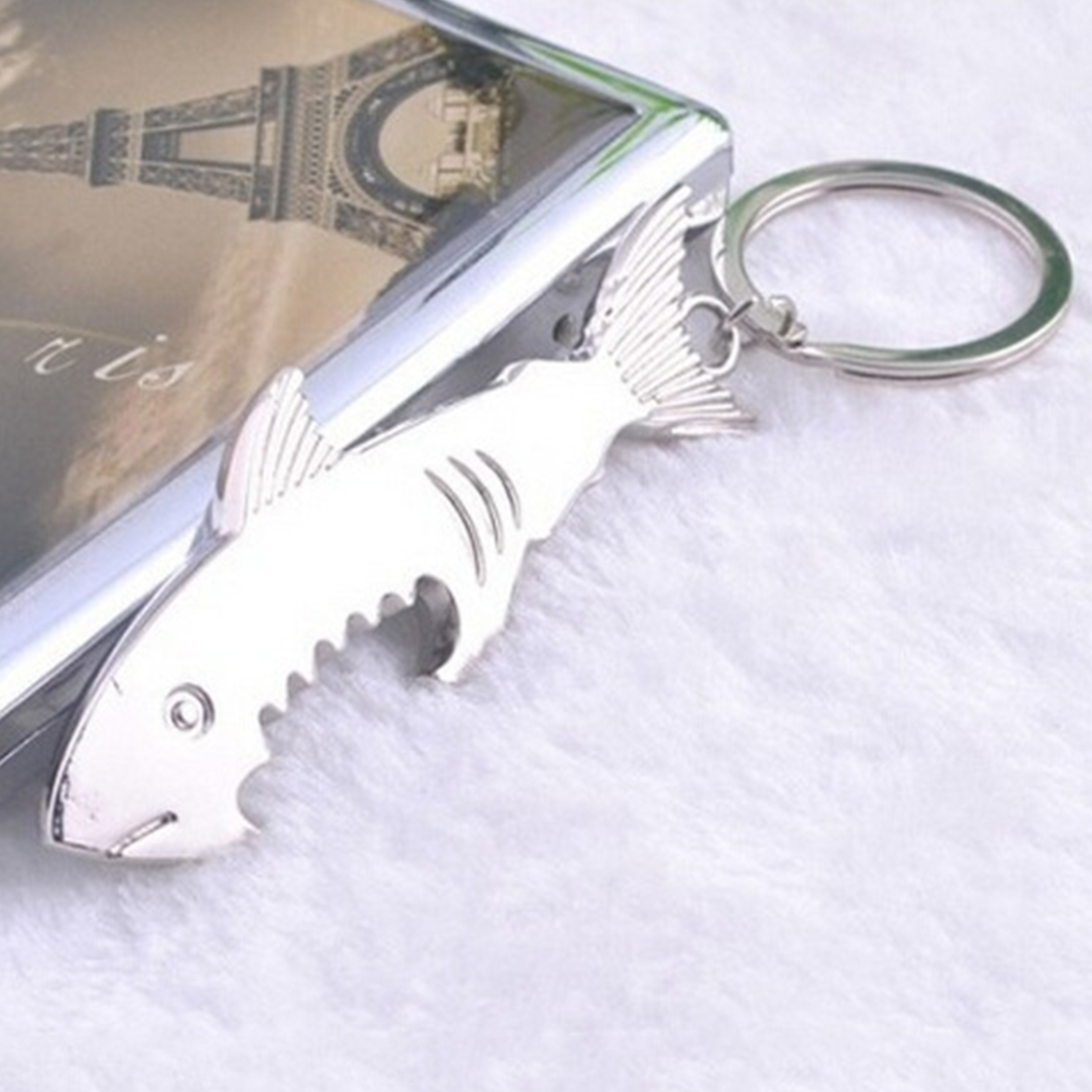 Shark Shaped Bottle Opener Keychain Zinc Alloy Silver Color Key Ring Beer Bottle Opener Outdoor Tools Camping Equipment