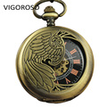 Antique Vintage Bronze Steel Steampunk Style Skeleton Mechanical Hand Wind Pocket Watch With Chain X-mas Birthday Gift
