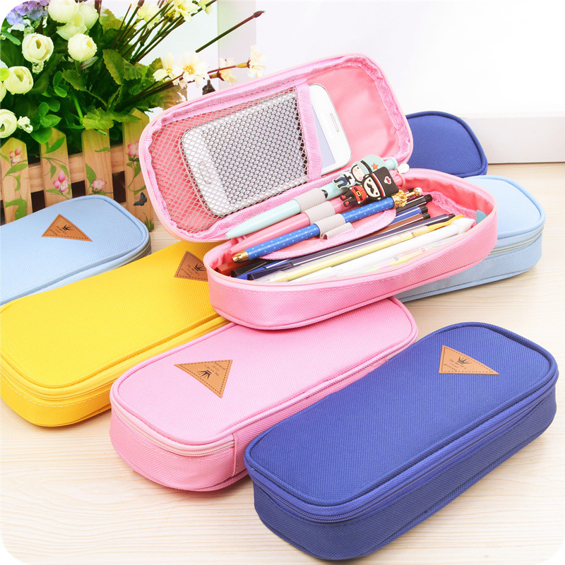 Lovely  Creative Canvas Pencil Case Large Capacity School Case Pencil Bag  Stationery Supplies