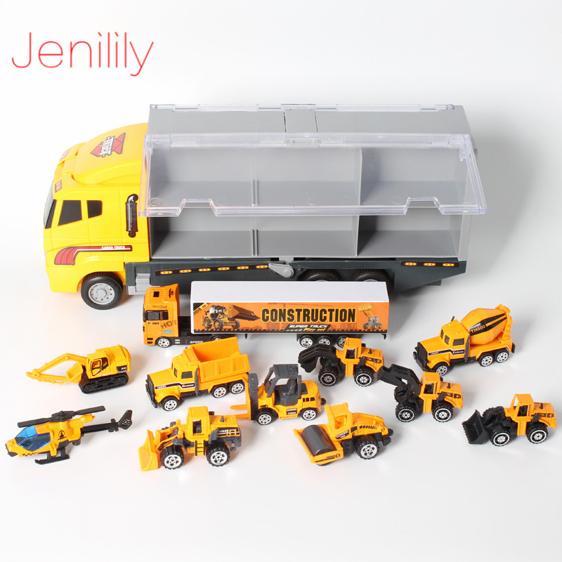 12 IN 1 Mini Alloy Engineering Car Model Toys 1 64 Helicopter Truck Tractor Diecast Cars
