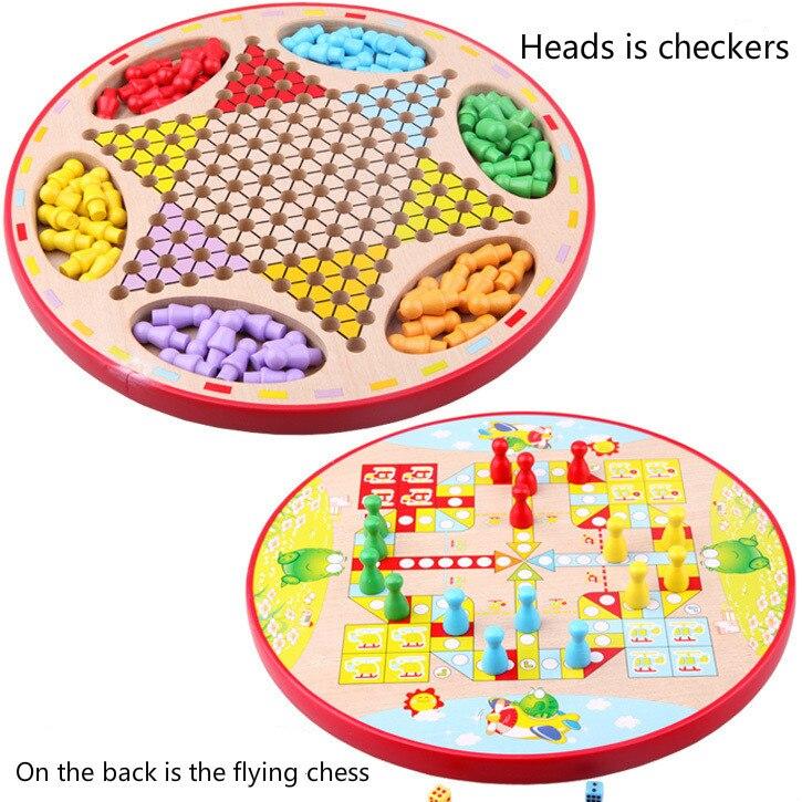 Montessori matériaux damiers en bois échecs volants deux-en-un échecs enfants éducation parent-enfant jeu jouets d'enseignement précoce