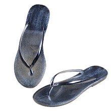 c3670ee25b65c0 fashion women flip flop sandals Open Toe jelly shoes dry quickly beach  summer thong slippers silver