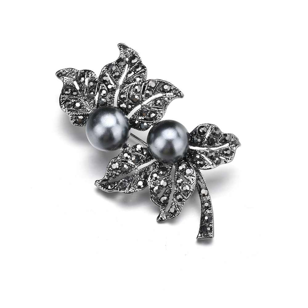 ... Terreau Kathy Jewelry Black Gun Plated Simulated Pearl Brooch Pins  Vintage Rhinestones double Leaf Brooches for ... ebb7ad58a428