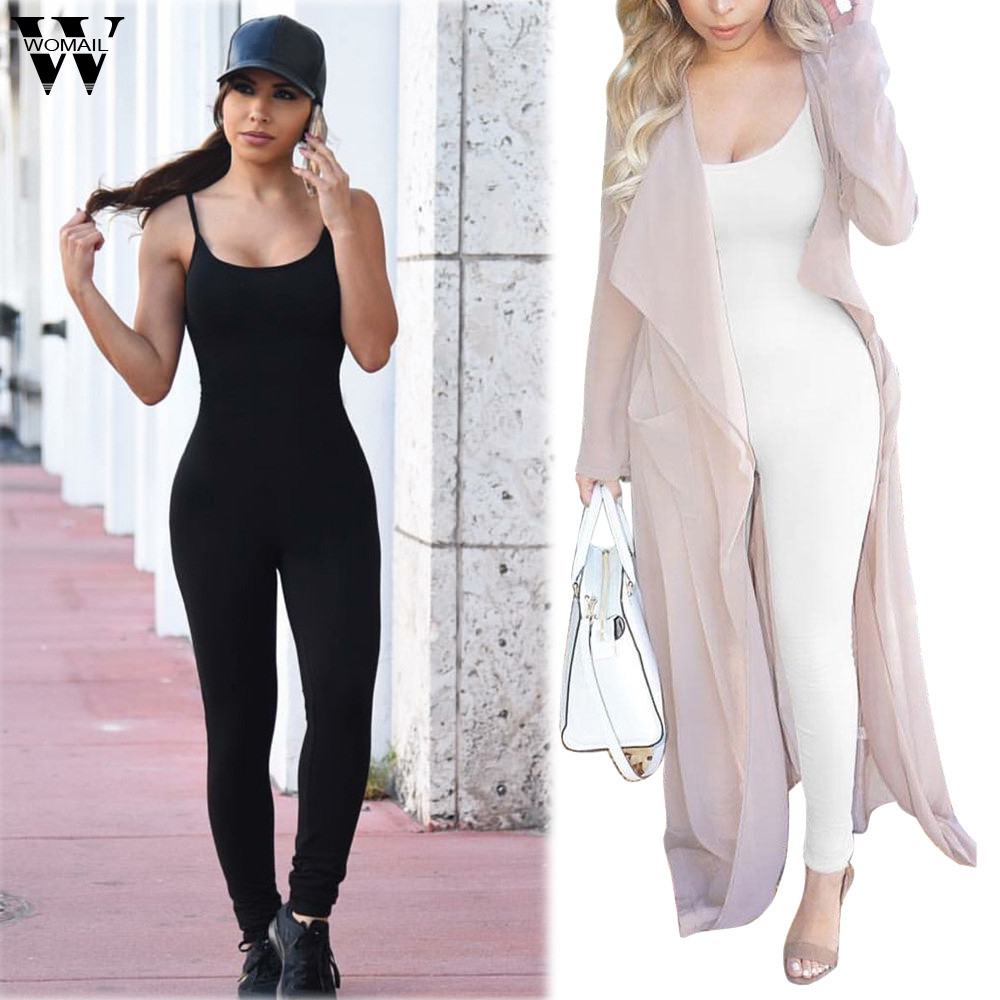 Womail Bodysuit Women Summer Casual Bodysuit Condole Belt Sports Clubwear Party Bandage Long Jumpsuits Fashion2019  M1