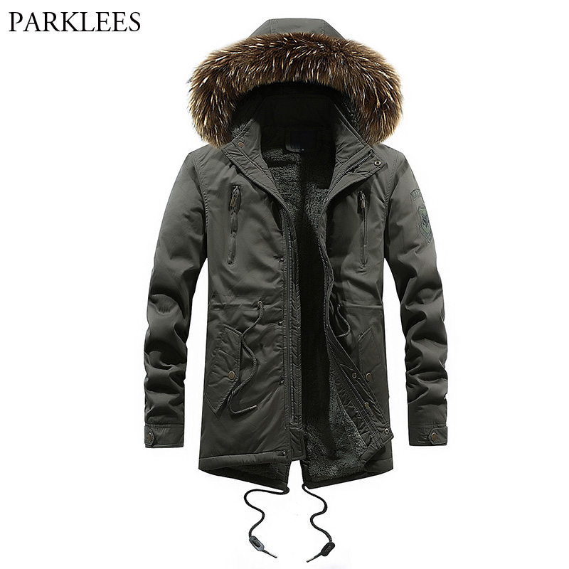 Men's Military Style Thicken Hooded Jacket 2018 Winter Brand New Cotton Padded Luxury Fur Fleece   Parka   Coat Windbreaker For Men