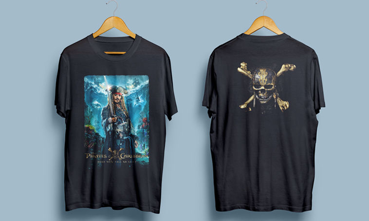 Pirates of the caribbean dead man tells no tales Mens T-shirt Black Size:S-XXL mens t-shirt