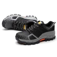 Для мужчин дышащие больших размеров сетки Сталь носком рабочая обувь Летняя обувь нескользящая платформа анти-прокол рабочие ботинки HH-107