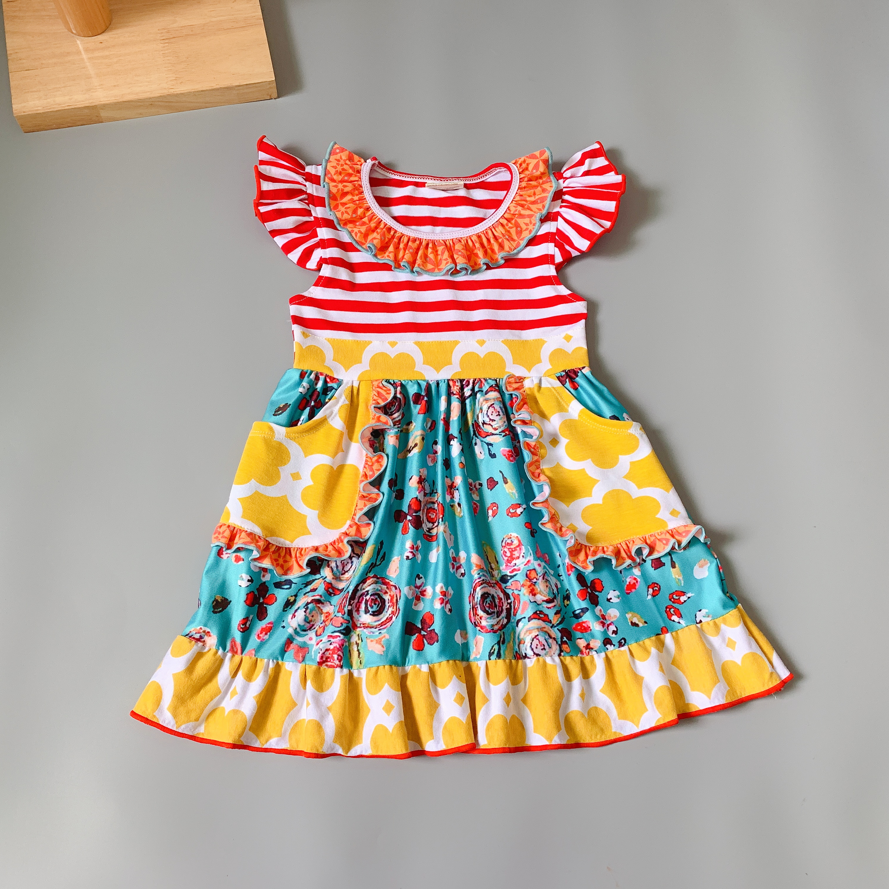 Summer Clothing with Children Multicolour Printed Baby Girls Dress for party present Cow dress Стёганое полотно