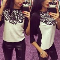 Women Europe America Loose Long Sleeve Lace Joint Blocking Color Shirts Sweatshirts Hoodies Casual Women Tops