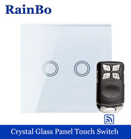 Wall Light Switch Touch Switch Screen Crystal Glass Panel Wall Switch EU 110 250V 2 Gang