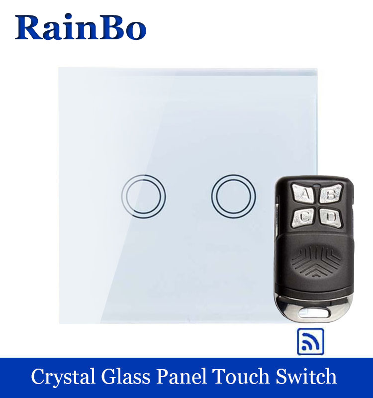 rainbo Wall Light Switch Touch Switch Screen Crystal Glass Panel Remote control Touch switch EU  2gang1way LED lamp A1923XW/BR01 smart home us au wall touch switch white crystal glass panel 1 gang 1 way power light wall touch switch used for led waterproof