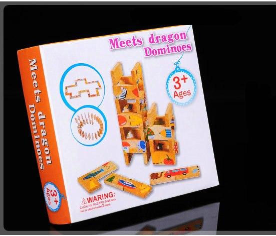 Бесплатная доставка Детей 28 ШТ. Животных Домино БЛОКИ Игрушки, детские раннего детства обучающие блоки игрушки Учебные Ресурсы