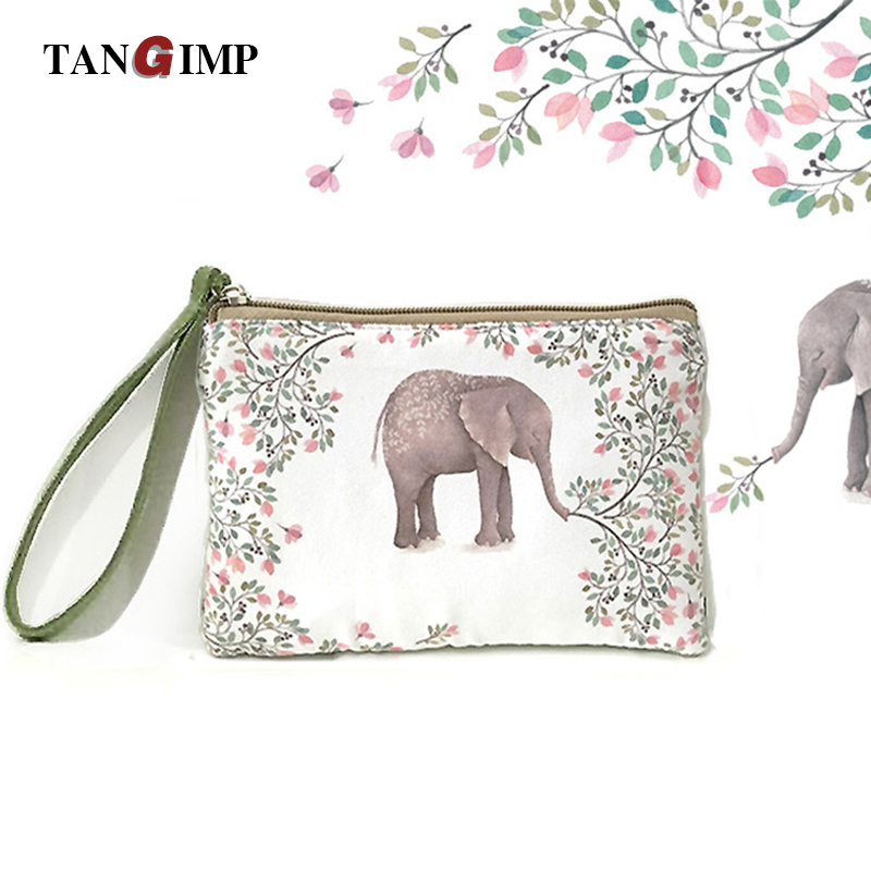 TANGIMP Women Wallet Cute Cat Elephant Canvas Coin Purse Travel Organizer Floral Bag Day Clutch Card Holders Girls bolsa moedas