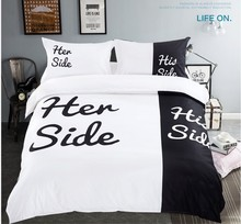 Black and White Bedding set Fun Lover duvet cover bed sheet spread bedspread bedsheet quilt queen size full double her his side