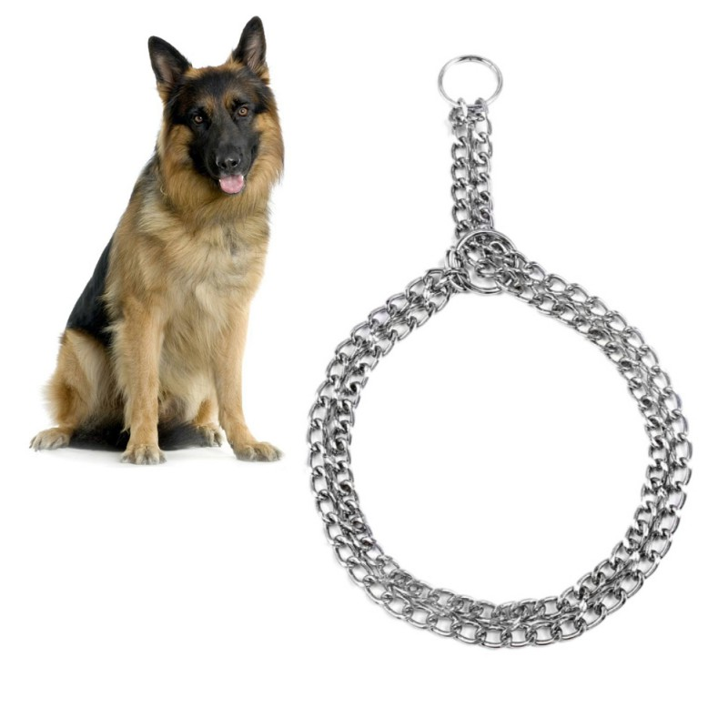 New Stainless Steel Non-slip Dog Collar Pet Iron Metal Traction Belt Walking Training Tool Double Row Chain Collar