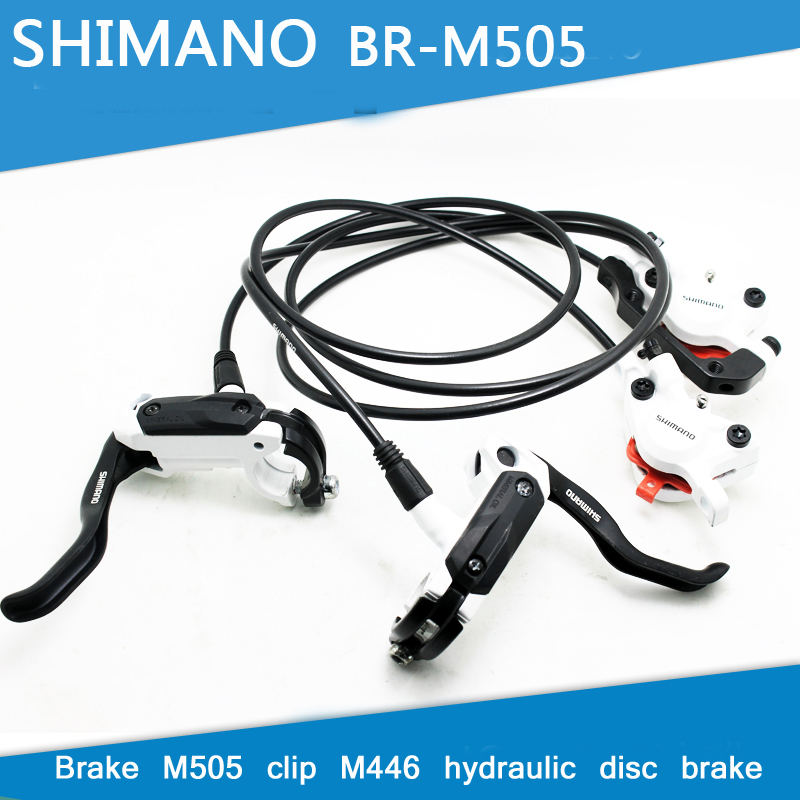 SHIMANO M505 MTB Bike Hydraulic Disc Brake Set Clamp Mountain for Deore/XT Brake Bicycle Disc Brake & Brake Sheet Screws shimano m315 mtb bike hydraulic disc brake set clamp mountain brake bicycle disc brake original bicycle brakes free ship