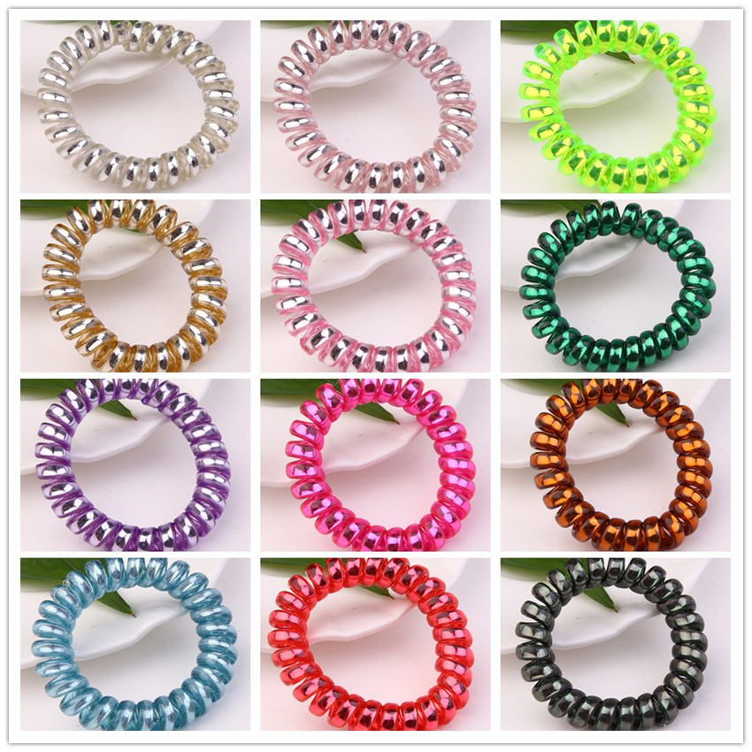 12pcs lot Assorted Colors 5 5cm Telephone Wire Coil Band Hair Rope Girls Scrunchies Jewelry Hair Tie Hair Accessories Bracelet