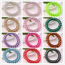 12pcs/lot Assorted Colors 5.5cm Telephone Wire Coil Band Hair Rope Girls Scrunchies Jewelry Tie Accessories Bracelet