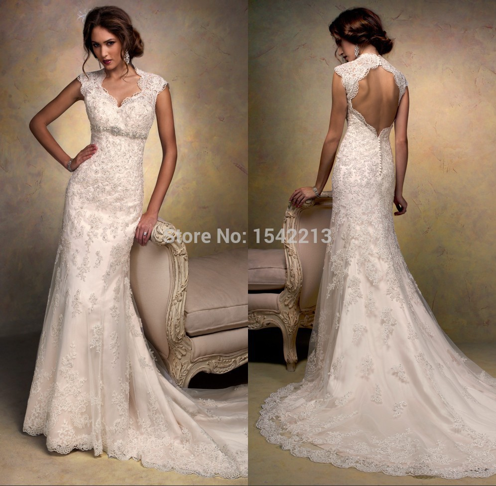 Vintage style wedding  Best Selling Lace Beading Open Back Sexy Lace Wedding Dresses ...