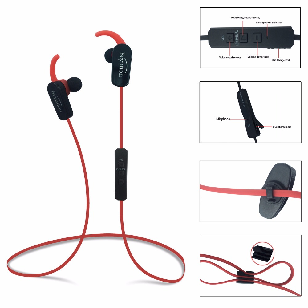US $9 99  (RED) Bluetooth V4 1 Headphones Sport Sweatproof Earphones with  Micphone for iPhone Samsung Android Phones Tablet Laptop-in Bluetooth