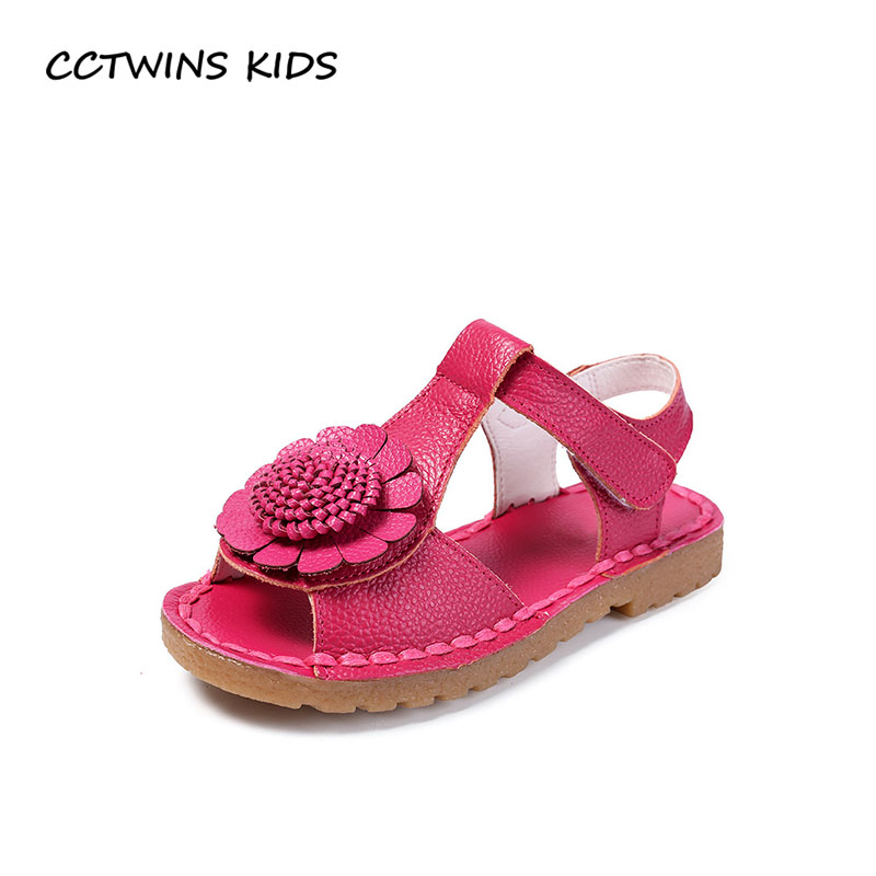 CCTWINS KIDS 2018 Summer Children Flower Beach Sandal Baby Girl Brand Genuine Leather Shoe Toddler Fashion White Flat BB072