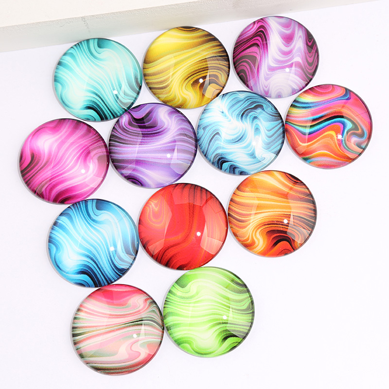 Onwear Mix Abstract Color Pattern Photo Round Glass Cabochon 8mm 12mm 20mm Diy Flat Back Handmade Jewelry Findings For Earrings