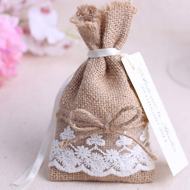 2016 Wedding Gift Bag Candy Pouches 24pcs Lot Drawable Lace Jute Bags 9x16cm Jewelry Ng