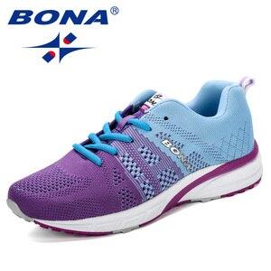 Image 2 - Bona novo tênis de corrida das mulheres tênis de corrida respirável malha rendas up treinamento ao ar livre sapatos de fitness esporte feminino