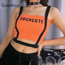 Sweetown Ribbon Patchwork Hollow Out Sexy Party Top Women Summer 2019 Orange Letter Embroidery Straps Crop Tank Top Streetwear