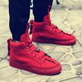 2016 New  Autumn/Winter Red Suede High Shoes Leather Latest Men Casual Shoes Breathable High-Top Fashion Shoes Men Basket Femme
