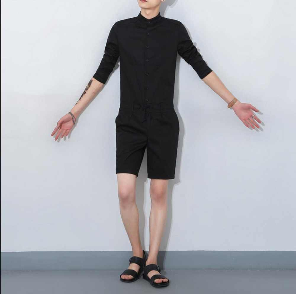 adb753346159 Free shipping Summer Khaki Military Cargo Pants Fashion Bib Boyfriend Jumpsuits  Men Korean style singer costumes