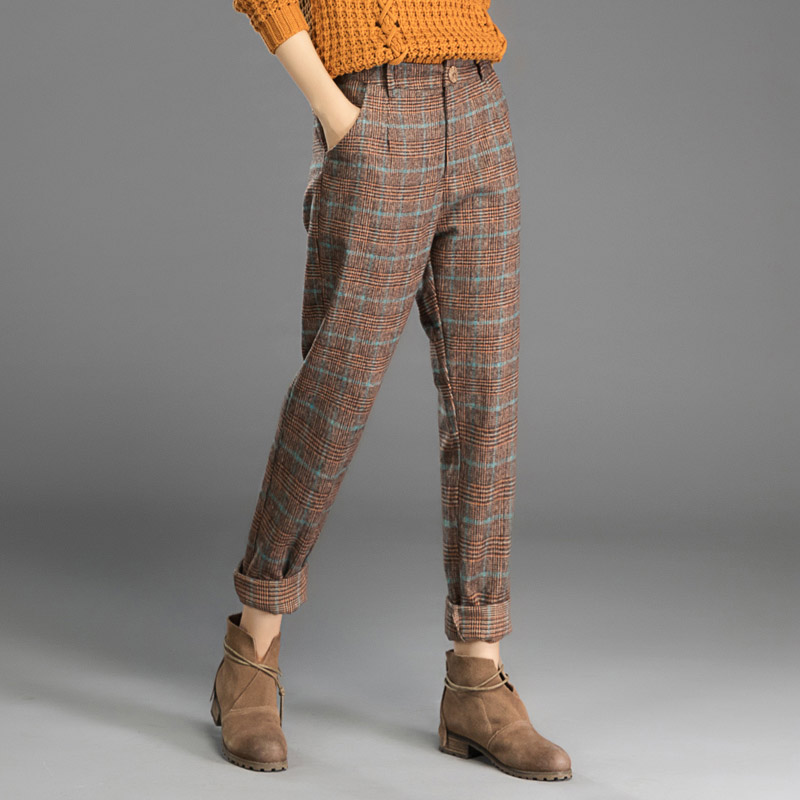 Autumn winter female woolen harem Pants & Capris women's plaid woolen trousers Korean woolen casual pants loose feet pants
