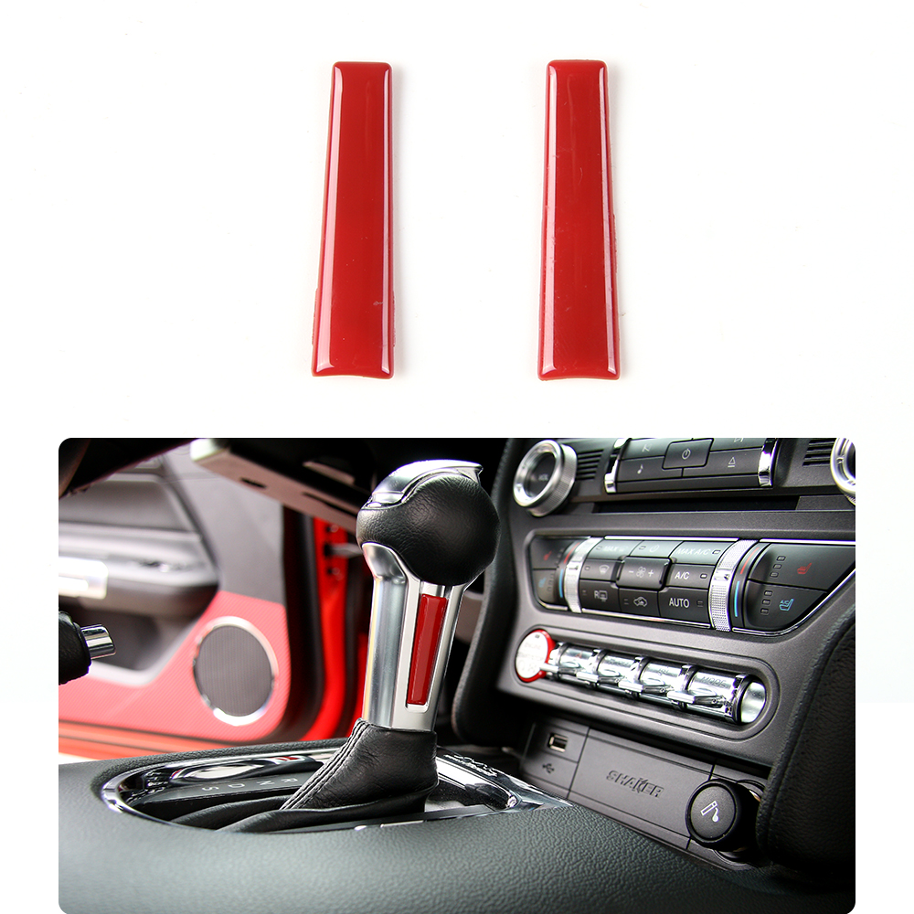 SHINEKA 2 Colors Car Styling Gear Shift trim GearLever Knob Car Decoration Flake Covers for Ford Mustang 2015+Car Accessories